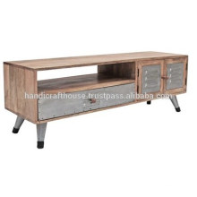 Industrial Mango Wood and Metal Legs 2 door and 1 drawer TV stand