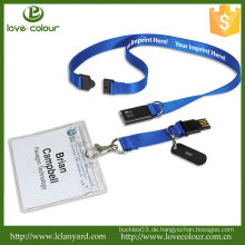 Günstige Custom Blue Stoff Lanyard für Abzeichenhalter / USB