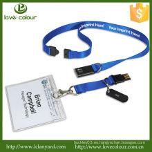 Lanyard de tela azul personalizada para titular de insignia / usb