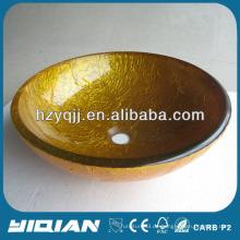 Beliebte Golden Fashionable Runde Waschschüssel Glas Gefäß Waschbecken