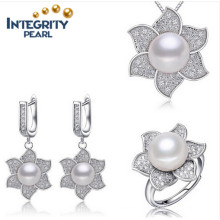 Natural Freshwater Pearl Set Flower Shape AAA 12-13mm Button Pearl latest Design Pearl Set