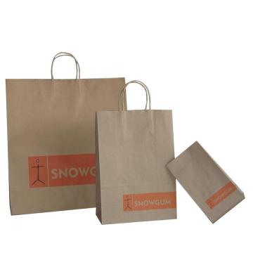 Sac à provisions Brown Kraft Paper avec poignée en papier