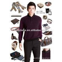 Stilvolle chinesische Mock Hals Männer 100% Kaschmir-Pullover