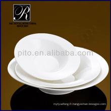 Usine de porcelaine P & T, plaques profondes, assiette de salade blanche pure, assiettes à pâtes