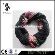 Fashionable tricô cachecol laço tipo 100% acrílico tie-tingimento colorido snood loop senhoras acessórios