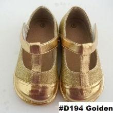 Golden T Strap Baby Girl Shoes Chaussures habillées pour bébés