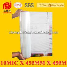 Filme estirável de 10mic * 450mm * 450m LLDPE / película do envoltório da pálete / estiramento Shrink Wrap