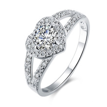 Romantic Vintage Heart Design Silver CZ Diamond Jewelry Engagement Ring