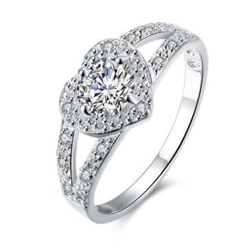 Anneau de fiançailles à bijoux en diamants en argent CZ