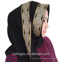 Fábrica hangzhou chal maxi negro shimmer burbuja gasa hijab glitter piedra bufanda