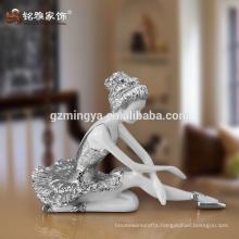 Promotional gift ballet dancer luxury high quality home decoration set Girl dancer resin statue
