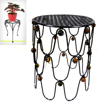 Deluxe Garden Glass Bead Decorated Metal Chair Flowerpot Stand Craft