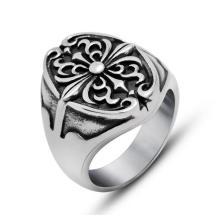 Мода Ювелирные Изделия Ретро Цветок Крест Кольцо Из Нержавеющей