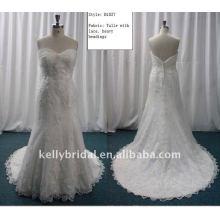 Улучшенный тюль с кружевом свадебное платье-B1037