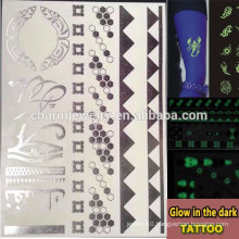 OEM Wholesale glow in the dark tattoo fashion brands luminous tatoo temporary tattoos Sticker for adults GLIS006