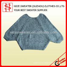 Mujeres cuello redondo suelto con bolsillo de cuero suéter hecho a mano