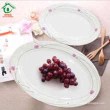 Atacado Oval Wedding White Porcelain Dinner Plates placas de cerâmica