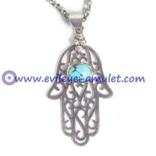 Handcrafted Turquoise Evil Eye Hamsa Necklace