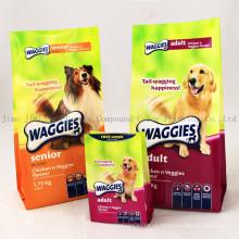 Embalagem de plástico Zip Stand up Bolsa de embalagem de alimentos para cães, bolsa de tratamento de cães, saco de comida para animais