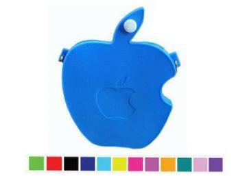 Silk Printed Silicone Coin Purse , Blue Apple Bited Zipper