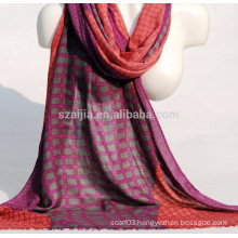 Fashion plaid print viscose ladies scarf