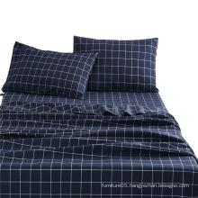 Wholesale Classic plaid pattern printed polyester bedding set sheet set