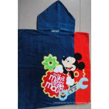 (BC-PB1010) Poncho de plage 100 % coton imprimé mignon pour enfants
