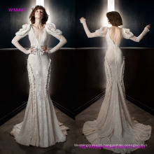 New Fashion Style Vintage Long Sleeves V Neck Full Embellishment Elegant Fit and Flare Wedding Dress with Open V Back Chapel Train
