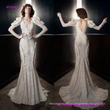 Новый стиль мода Винтаж с длинными рукавами V шеи полный украшение элегантный форме и вспышки свадебное платье с открытым V-обратно часовня поезд