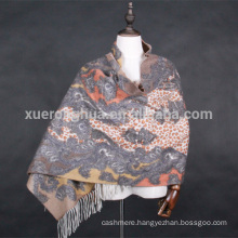 double face digital printed paisley pattern cashmere shawl for winter