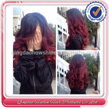 Fast delivery beauty ombre red human hair side part lace front wig