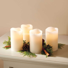 Flameless LED Ivory Pillar Mumlar (Set 4)