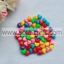 10*12MM Opaque Mixed Colors Fashion Heart Charm Beads Pattern