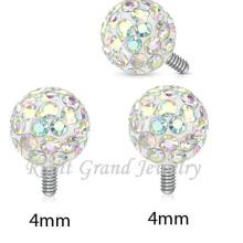 Remplacement enduit intérieurement de boule de cristal époxyde fileté pour l'ancre cutanée filetée ou l'anneau de lèvre