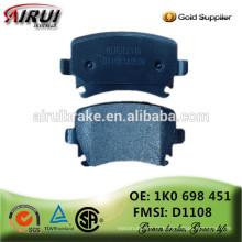 Almofadas de freio de disco NAO qualidade OE Almofada de freio com calços (OE: 1k0698451 / FMSI: D1108)