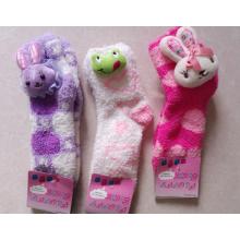 Chaussettes Fuzzy femme avec tête d'animal