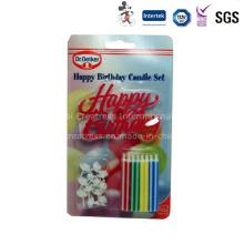 Vela de cumpleaños de embalaje blister tarjeta con soporte