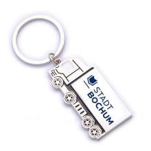 Персонализированная персонализированная милая серебряная тележка Shaped Keyring с логосом (F1312A)