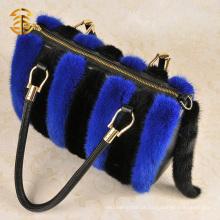 Bolsas de couro feminino de couro genuíno e Mink Fur Bag Bolsa de viagem azul e preto