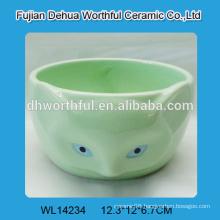 Green ceramic bowl in cute fox shape for wholesale