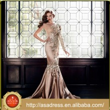 EDB-06 Luxo Crystal Formal Party Vestido 2015 Moda Design Um Ombro Mermaid Andar de comprimento Long Sleeve Evening Dress
