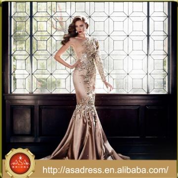 EDB-06 Luxury Crystal Formal Party Gown 2015 Fashion Design One Shoulder Mermaid Floor-Length Long Sleeve Evening Dress