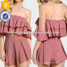 Layered Flounce Bardot Top And Shorts Manufacture Wholesale Fashion Women Apparel (TA4041SS)