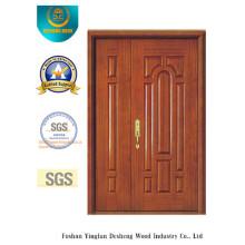 Porta dupla do estilo chinês MDF com madeira maciça para entrada (xcl-025)