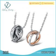 2016 Best price Titanium Stainless Steel Necklace love circle necklace love pendant necklace