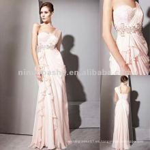 NY-2538 una correa vestido de gasa rosa de verano largo