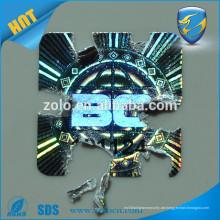 Anti-fake reflektierende destruktive Hologramm-Aufkleber mit hoher Sicherheitstechnologie