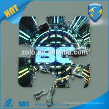 Autocollant d'hologramme destructeur réfléchissant et anti-faux avec une technologie de haute sécurité