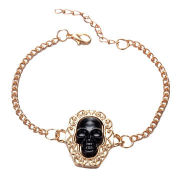 Fashion Skull Bracelet, Made of Alloy, Resin and Crystal, Customized Designs are Accepted