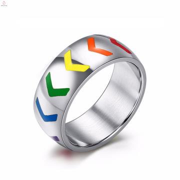 Hermosa imagen nueva Anillo de compromiso gay de acero inoxidable